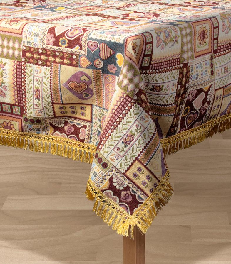Скатерть Les Gobelins Coeurs Espagnol, прямоугольная, 150 х 190 смVT-1520(SR)Прямоугольная скатерть Les Gobelins Coeurs Espagnol с ярким рисунком привлечет к себе внимание и органично впишется в интерьер комнаты. Изделие изготовлено из высококачественной ткани гобелен и оформлено бахромой и кисточками. Необычайная красота сочетается в этой скатерти с высокой прочностью и долговечностью, а свойство гобелена по-разному проявлять себя в зависимости от освещения помещения позволяет открывать все новые и новые детали, которые, как казалось, раньше скрывал гобелен.Красочная и приятная на ощупь скатерть сделает любое застолье торжественным, а интерьер - уютным и своеобразным.Расположение рисунка на скатерти соответствует фотографии.Состав материала:52% хлопок, 48% полиэстер.
