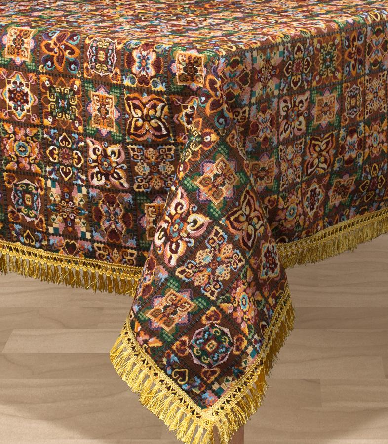 Скатерть Les Gobelins Mosaique De Fleurs, прямоугольная, 150 х 190 см531-401Прямоугольная скатерть Les Gobelins Mosaique De Fleurs с ярким рисунком привлечет к себе внимание и органично впишется в интерьер комнаты. Изделие изготовлено из высококачественной ткани гобелен и оформлено бахромой и кисточками. Необычайная красота сочетается в этой скатерти с высокой прочностью и долговечностью, а свойство гобелена по-разному проявлять себя в зависимости от освещения помещения позволяет открывать все новые и новые детали, которые, как казалось, раньше скрывал гобелен.Красочная и приятная на ощупь скатерть сделает любое застолье торжественным, а интерьер - уютным и своеобразным.Расположение рисунка на скатерти соответствует фотографии.Состав материала:49% хлопок, 51% полиэстер.