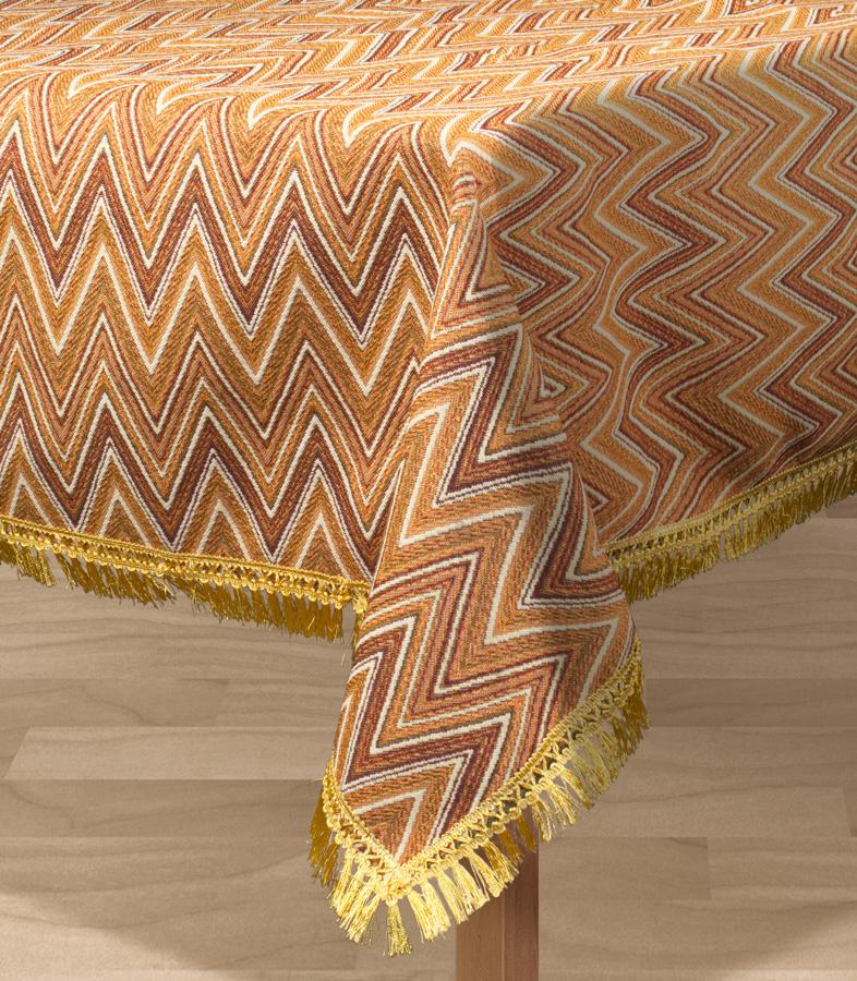 Скатерть Les Gobelins Zigzag, прямоугольная, цвет: коричневый, 150 х 190 смVT-1520(SR)Прямоугольная скатерть Les Gobelins Zigzag с ярким геометрическим рисунком привлечет к себе внимание и органично впишется в интерьер комнаты. Изделие изготовлено из высококачественной ткани гобелен и оформлено бахромой и кисточками. Необычайная красота сочетается в этой скатерти с высокой прочностью и долговечностью, а свойство гобелена по-разному проявлять себя в зависимости от освещения помещения позволяет открывать все новые и новые детали, которые, как казалось, раньше скрывал гобелен.Красочная и приятная на ощупь скатерть сделает любое застолье торжественным, а интерьер - уютным и своеобразным.Расположение рисунка на скатерти соответствует фотографии.Состав материала:52% хлопок, 48% полиэстер.