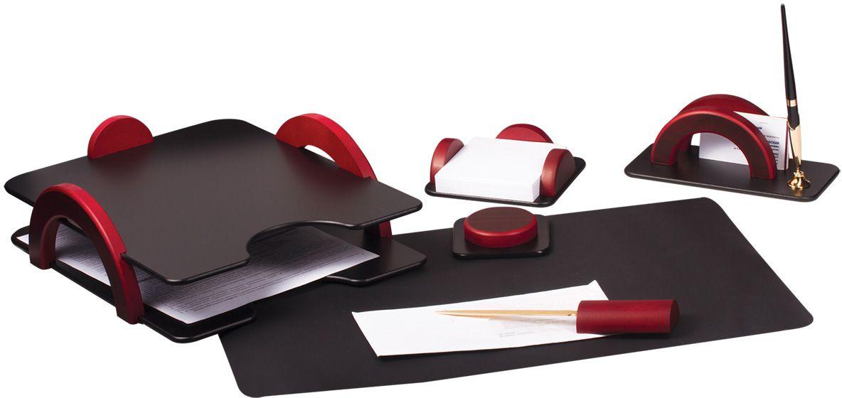 Bestar Набор письменных принадлежностей цвет красное дерево 6 предметовFS-36054Набор изготовлен из дерева с металлическими деталями золотистого цвета. Цвет предметов - комбинация черного и красного цветов. В набор входят:•Двойной лоток для бумаг. •Коврик для письма. •Подставка для бумажного блока. •Подставка для писем и ручки (1 шариковая ручка в комплекте). •Нож для открывания конвертов. •Магнитный диспенсер для скрепок.