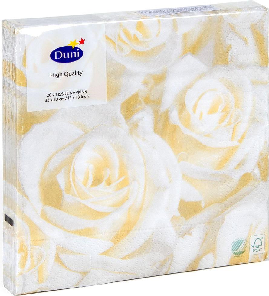 Салфетки бумажные Duni Белые Розы, 3-слойные, 33 х 33 см, 20 шт9103500771Трехслойные бумажные салфетки изготовлены из экологически чистого, высококачественного сырья - 100% целлюлозы. Салфетки выполнены в оригинальном и современном стиле, прекрасно сочетаются с любым интерьером и всегда будут прекрасным и незаменимым украшением стола.