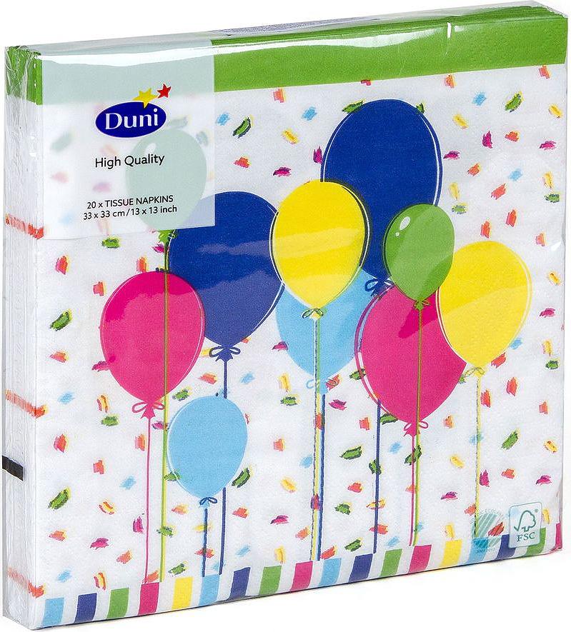 Салфетки бумажные Duni Balloons And Confet, 3-слойные, 33 х 33 см19201Трехслойные бумажные салфетки изготовлены из экологически чистого, высококачественного сырья - 100% целлюлозы. Салфетки выполнены в оригинальном и современном стиле, прекрасно сочетаются с любым интерьером и всегда будут прекрасным и незаменимым украшением стола.