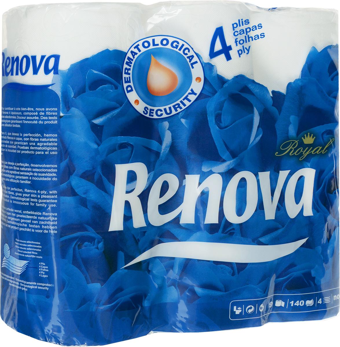 Туалетная бумага Renova Royal, четырехслойная, цвет: белый, 9 рулонов790009Туалетная бумага Renova Royal изготовлена по новейшей технологии из 100% целлюлозы, благодаря чему она очень мягкая, нежная, но в тоже время прочная. Перфорация надежно скрепляет четыре слоя бумаги. Туалетная бумага Renova Royal не содержит ароматизаторов и красителей. Состав: 100% целлюлоза. Количество листов: 140 шт.Количество слоев: 4.Размер листа: 11,5 см х 9,5 см.Количество рулонов: 9 шт.Португальская компания Renova является ведущим разработчиком новейших технологий производства, нового стиля и направления на рынке гигиенической продукции.