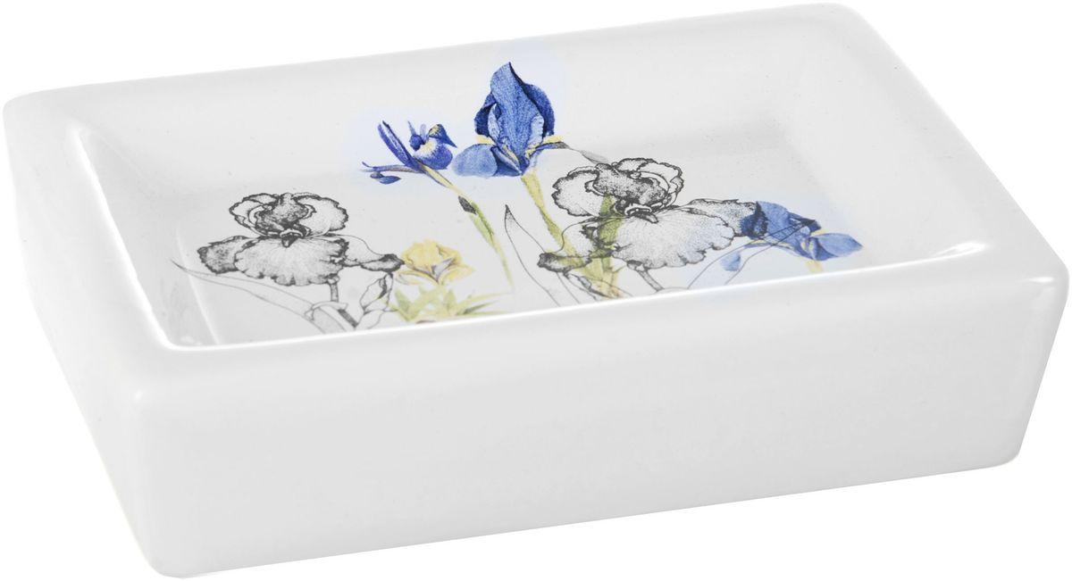 Мыльница ENS Group Ирисы68/5/3Мыльница ENS GROUP Ирисы изготовлена из натуральной и элегантной керамики белого цвета, удобной квадратной формы, с изображением цветов.Изделие прекрасно дополнит интерьер вашей ванной комнаты и отлично сочетается с другими аксессуарами из коллекции Ирисы.