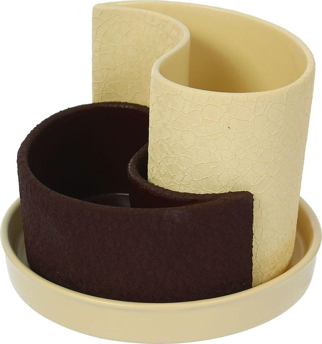Набор кашпо Керамика ручной работы Капля, цвет: бежевый, шоколадный, 2 предмета531-401Горшок Капля 0,7л,1,3л Шелк бежево-шоколадный 1309273