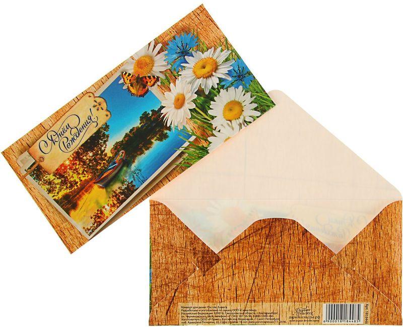 Конверт для денег Дарите счастье С Днем Рождения. Ромашки, 8 х 16 см890108Всем известно, что хороший подарок — это полезный подарок. А деньги уж точно не будут пылиться в дальнем углу шкафа. Их можно преподнести на любое торжество. Подберите для своего подарка оригинальный конверт и скорее дарите близким радость!Изделие изготовлено из плотного картона, поэтому вы можете не беспокоиться за целостность его содержимого.
