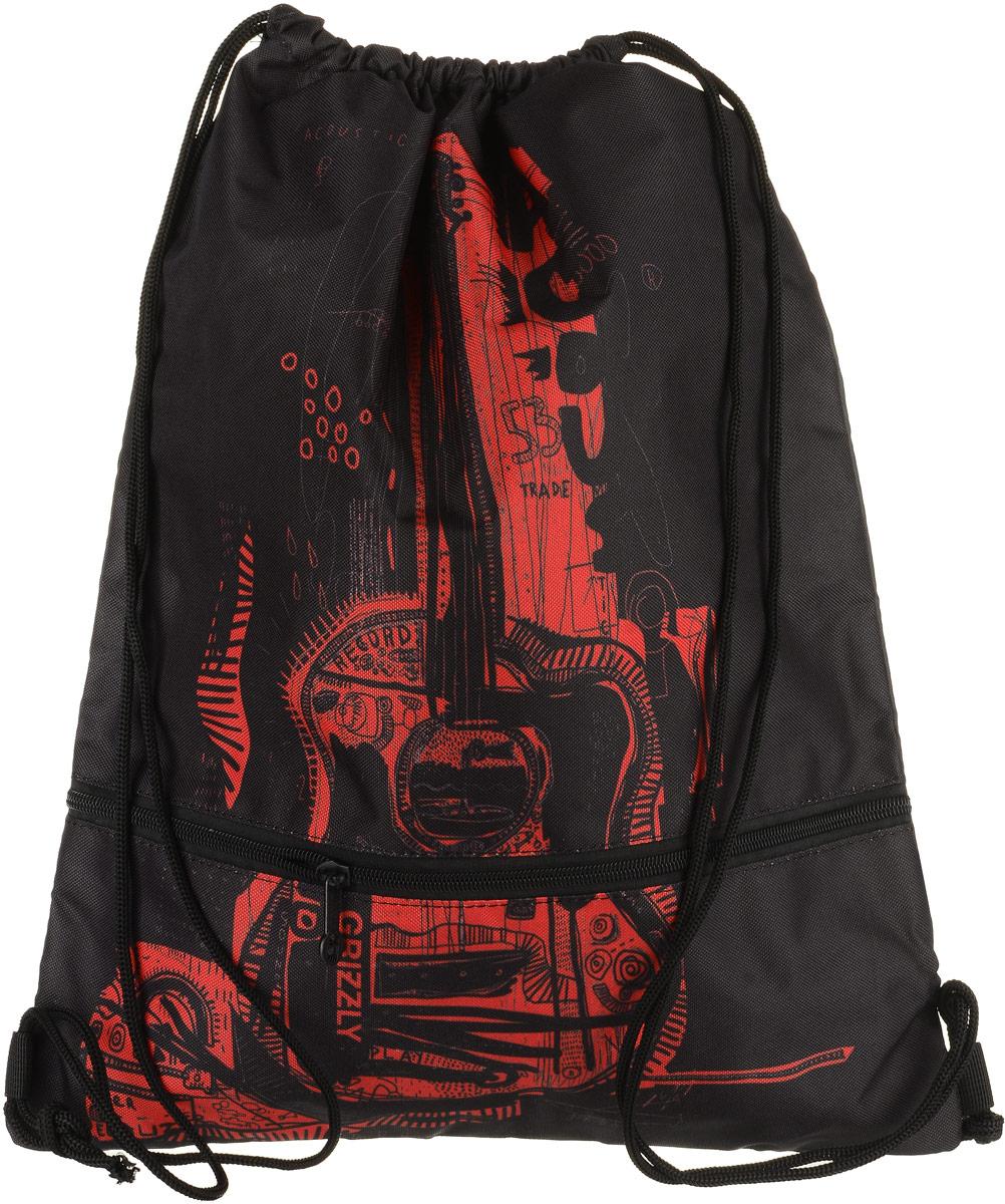 Сумка для сменной обуви и одежды Grizzly, цвет: красный. OM-791-1/372523WDОбъемный мешок для обуви, два отделения, нижнее отделение на молнии, дополнительная ручка-петля, лямки из шнура