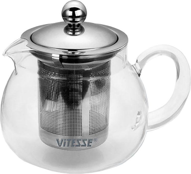 Чайник заварочный Vitesse Judy с фильтром, 700 млVT-1520(SR)Заварочный чайник Vitesse Judy со специальным фильтром позволит вам заварить свежий, ароматный чай и займет достойное место на вашей кухне. Чайник выполнен из термостойкого стекла, которое выдерживает температуру до 350°С. Фильтр и крышка изготовлены из высококачественной нержавеющей стали 18/10. Горлышко и ручка изготовлены в ручную. Чайник можно использовать на электрических и газовых плитах при слабом огне, а также мыть в посудомоечной машине. Современный дизайн полностью соответствует последним модным тенденциям в создании предметов бытовой техники. Характеристики: Материал:стекло, нержавеющая сталь. Объем:700 мл. Высота (без крышки):10,5 см. Размер коробки:16 см х 16 см х 13,5 см.Артикул:VS-1672.
