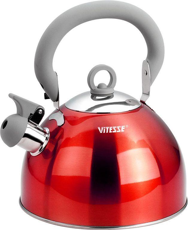 Чайник Vitesse Hanya со свистком, цвет: красный, 2,5 лCM000001328Чайник Vitesse Hanya выполнен из высококачественной нержавеющей стали 18/10. Капсулированное дно с прослойкой из алюминия обеспечивает наилучшее распределение тепла. Носик чайника оснащен откидной насадкой-свистком, что позволит вам контролировать процесс подогрева или кипячения воды. Чайник имеет элегантное цветное покрытие корпуса. Подвижная ручка чайника изготовлена из нержавеющей стали с силиконовым покрытием. Чайник Vitesse Hanya подходит для использования на всех типах плит. Также изделие можно мыть в посудомоечной машине. Характеристики: Материал: нержавеющая сталь 18/10, силикон.Диаметр основания чайника: 20 см.Высота чайника (с учетом крышки и ручки):25 см.Объем:2,5 л.Размер упаковки:20,5 см х 20,5 см х 17,5 см. Изготовитель:Китай. Артикул:VS-1114.Кухонная посуда марки Vitesseиз нержавеющей стали 18/10 предоставит вам все необходимое для получения удовольствия от приготовления пищи и принесет радость от его результатов. Посуда Vitesse обладает выдающимися функциональными свойствами. Легкие в уходе кастрюли и сковородки имеют плотно закрывающиеся крышки, которые дают возможность готовить с малым количеством воды и экономией энергии, и идеально подходят для всех видов плит: газовых, электрических, стеклокерамических и индукционных. Конструкция дна посуды гарантирует быстрое поглощение тепла, его равномерное распределение и сохранение. Великолепно отполированная поверхность, а также многочисленные конструктивные новшества, заложенные во все изделия Vitesse, позволит вам открыть новые горизонты приготовления уже знакомых блюд. Для производства посуды Vitesseиспользуются только высококачественные материалы, которые соответствуют международным стандартам.