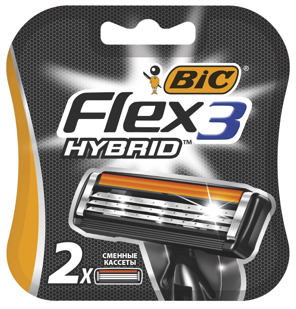 Bic Flex 3 Hybrid Сменные кассеты для бритья, 2 штKF1118Три высококачественных лезвия, плавающих независимо друг от друга. Хромо-полимерное покрытие лезвий. Более широкий резиновый предохранитель.