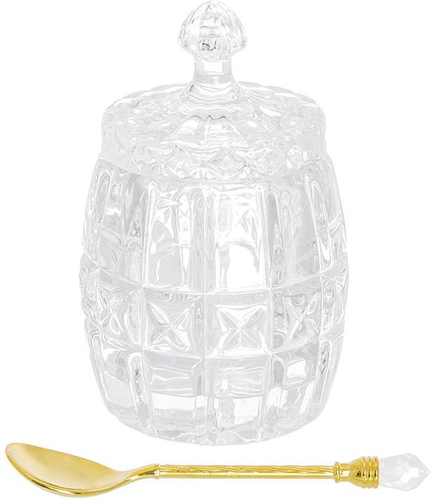 Горшочек для меда Elan Gallery Бочонок, с ложкой, 110 млVT-1520(SR)Горшочек для меда Elan Gallery Бочонок изготовлен из прочного прозрачного стекла. Изделие предназначено для хранения меда, варенья, джема или орехов. В комплекте предусмотрена специальная ложечка, которой очень удобно доставать варенье.Такой горшочек станет незаменимым аксессуаром на любой кухне.Диаметр (по верхнему краю): 6 см. Высота горшочка (с учетом крышки): 11,5 см. Длина ложечки: 11 см.