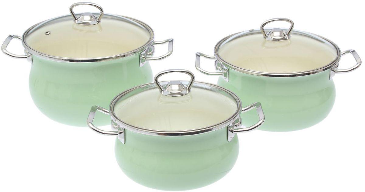 Набор кастрюль Epos Мятная прохлада, с крышками, 6 предметовCM000001328Эмалированная посудая пригодится вам для быстрого приготовления разных типов блюд. Такая посуда подходит для домашнего и профессионального использования.Достоинства:посуда быстро и равномерно нагревается;корпус стоек к ржавчине;изделие легко отмывается в посудомоечной машине.Благодаря приятным цветам кастрюля удачно впишется в любой дизайн интерьера. Наилучшее качество покрытия достигается за счёт того, что посуда проходит обжиг при температуре до 800 градусов.Чтобы предмет сохранял наилучшие эксплуатационные свойства, соблюдайте правила ухода:избегайте ударов и падений;не пользуйтесь высокоабразивными чистящими средствами;не допускайте резких перепадов температуры.Посуда подходит для долговременного хранения пищи.