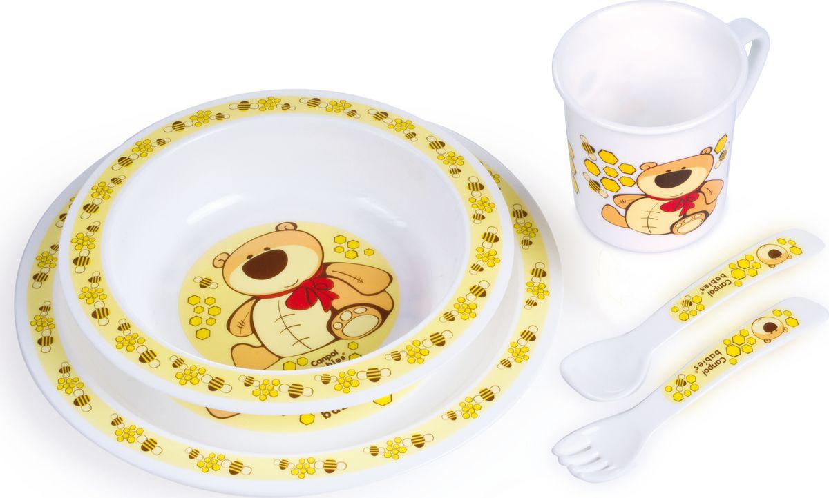 Canpol babies Набор посуды для кормления цвет желтый115510Бренд Canpol babies уже более 25 лет помогает мамам во всем мире растить своих малышей здоровыми и счастливыми.Набор обеденный пластиковый выполнен из полностью безопасных материалов. Яркие красочные рисунки на посуде порадуют малыша и сделают процесс кормления еще более увлекательным. В комплект входит миска глубокая, тарелка, чашка, вилка, ложка.Выпускается в четырех дизайнах: котик, ослик, мишка, лошадка.Допускается разогрев в микроволновой печи.Допускается использование в посудомоечной машине.