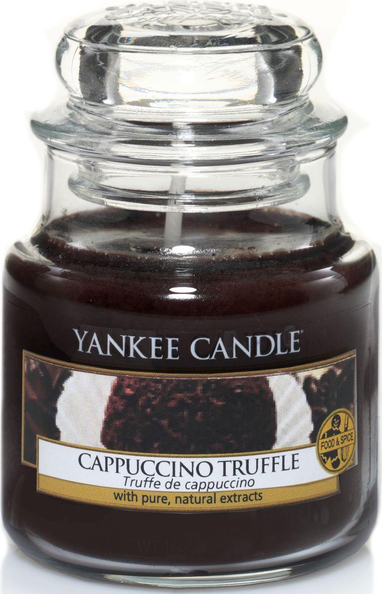 Ароматическая свеча Yankee Candle Капуччино трюфель / Capuccino Truffle, 25-45 чUP210DFЖареный кофе с сочными, бархатистым шоколадом.Верхняя нота: Капуччино.Средняя нота: Молочный шоколад, Ванильный Крем.Базовая нота: Сахар.