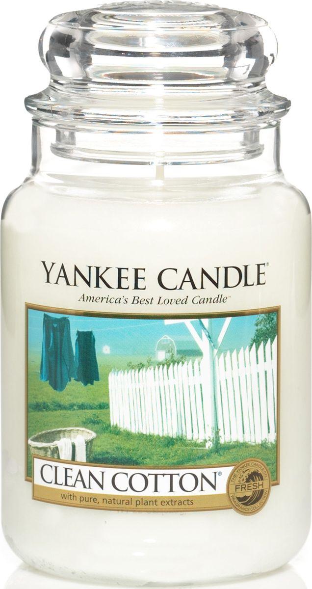 Ароматическая свеча Yankee Candle Чистых хлопок / Clean Cotton, 110-150 чFS-91909Аромат высушенного на свежем воздухе хлопка, с лёгкими оттенками белых цветов и лимона.Верхняя нота: Озон, Зеленая листва, Бергамот. Средняя нота: Ландыш, Роза.Базовая нота: Ветивер, Кедр, Мускус, Древесные