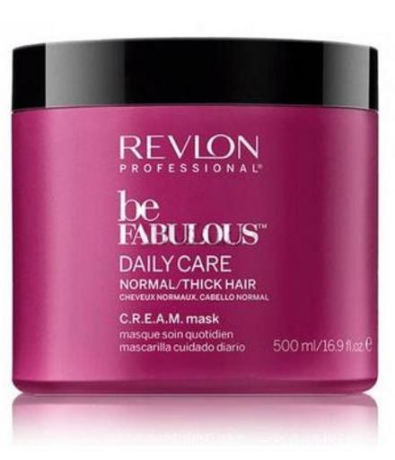 Revlon Professional Be Fabulous C.R.E.A.M. Mask For Normal Thick Hair Маска для нормальных/густых волос, 500 млFS-00103Универсальная питающая маска для нормальных или густых волос испанского бренда Revlon Professioanal. Предназначена для питающего ухода, обладает мультиухаживающим эффектом: обеспечивает сохранение цвета, восстановление, блеск, антивозрастной эффект и увлажнение. Не утяжеляет и не склеивает волосы. Облегчает процесс расчесывания и укладки.Применение: нанести маску для нормальных и густых волос Revlon по всей длине волос, оставить на 3-5 минут, тщательно промыть теплой водой. Для достижения эффекта профессионально ухоженных сияющих волос рекомендуется дополнительное использование очищающего шампуня и кондиционера для нормальных или густых волос серии Be Fabulous Cream Revlon.Объем: 500 мл