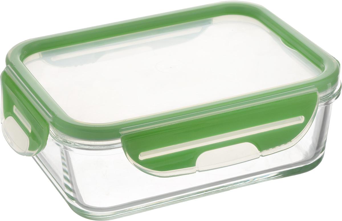 Контейнер для пищевых продуктов Pasabahce, цвет: зеленый, 900 млVT-1520(SR)Контейнер Pasabahce Storemax, изготовленный из высококачественного стекла, предназначен для хранения любых пищевых продуктов. Крышка из пластика с резиновыми вставками герметично защелкивается специальным механизмом. Изделие устойчиво к воздействию масел и жиров, легко моется. Прозрачные стенки позволяют видеть содержимое. Контейнер имеет возможность хранения продуктов глубокой заморозки, обладает высокой прочностью.Можно мыть в посудомоечной машине и использовать в СВЧ. модель устойчива к температурам до 400°C.Размер контейнера (по верхнему краю): 17,8 х 13 см.Высота контейнера (без учета крышки): 5,5 см.