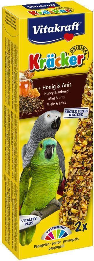 Крекеры для африканских попугаев Vitakraft, медовые, 2 шт.0120710Крекер содержит жизненно необходимые минералы и витамины. Мотивирует птицу самостоятельно добывать себе зерно, как в дикой природе. Натуральная деревянная палочка и зажим для крепления в клетке делают лакомство полезным и удобным в использовании.
