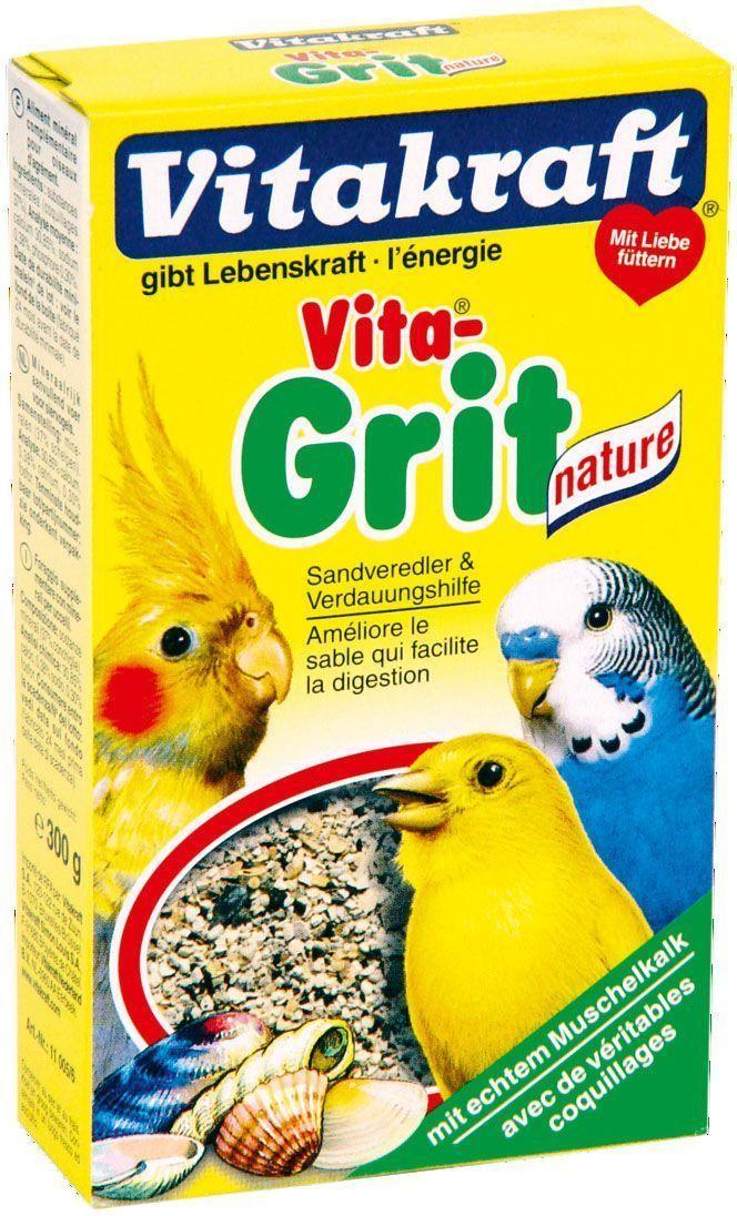 Песок для птиц Vitakraft Vita Grit Nature, 300 г0120710Натуральный Биопесок высшего качества гарантирует:птичью клетку без микробов;- приятный запах аниса и цитруса;улучшает пищеварение;- регулирует обмен веществ;отличное впитывание жидкости;- улучшает рост перьев;Применение: Подсыпайте Биопесок несколько раз в неделю, по крайней мере, 2-3 раза, чтобы предоставить вашим животным чистый без запаха дом и сделать основные минералы доступными в любое время.