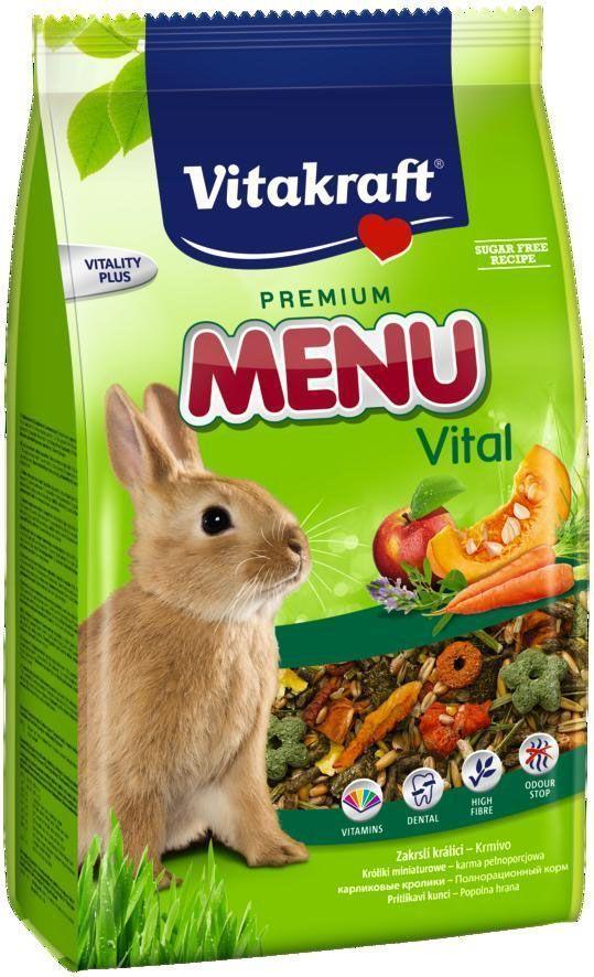 Корм для кроликов Vitakraft Menu, 3 кг0120710Основной корм для кроликов ежедневного применения. В состав входят: овощи, семена, злаки, витамины и минералы, а так же клетчатка необходимая для правильной работы пищеварительной системы.