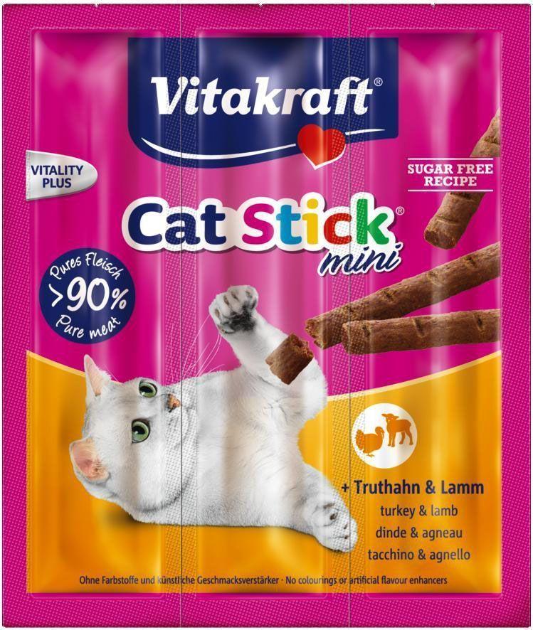 Колбаски для кошек Vitakraft Cat-Stick Mini, индейка, ягненок, 3 х 6 г0120710Натуральные мясные колбаски без красителей и консервантов. Служат вкусным, питательным дополнением к основному корму, используются также для поощрения кошек.