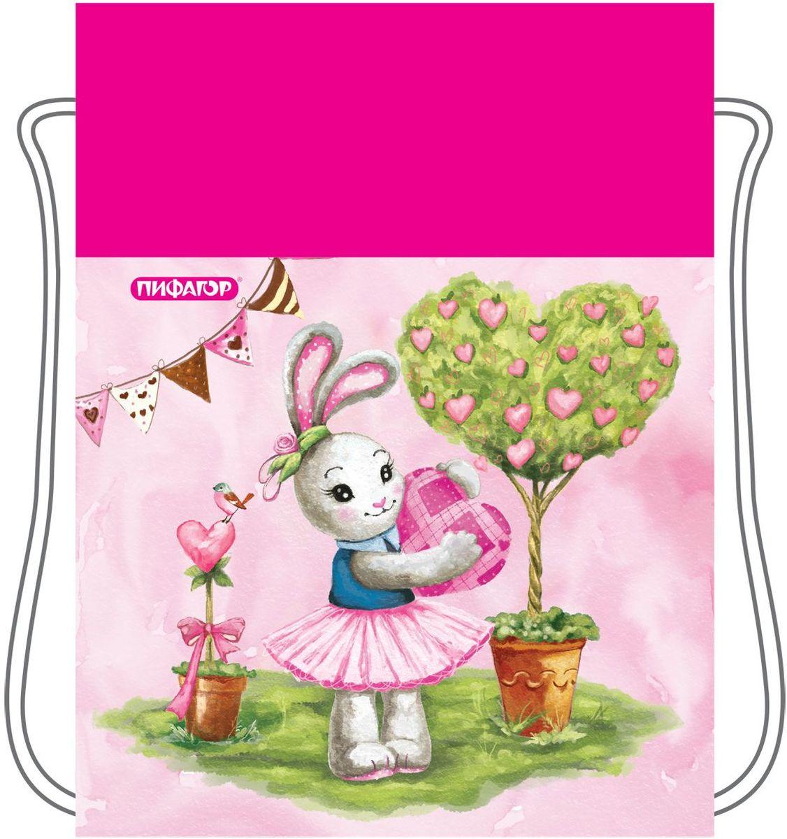 Пифагор Сумка для детской обуви Зайка цвет розовый72523WDСумка для обуви ПИФАГОР предназначена для детей 7-10 лет. Вместительная сумка затягивается шнурком. Яркий тематический принт поможет школьнику проявить индивидуальность.•Затягивается шнурком. •Водоотталкивающая пропитка ткани. •Материал - полиэстер. •Размер: 42х34 см.