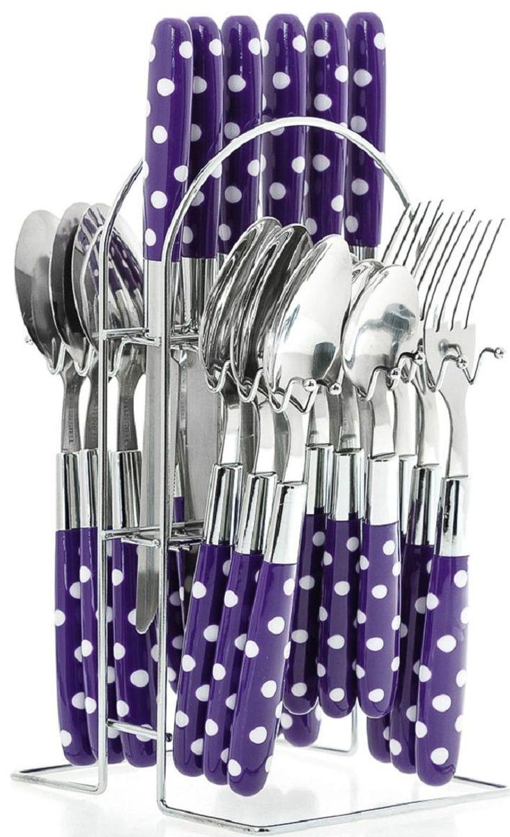 Набор столовых приборов Elff Decor, на подставке, цвет: фиолетовый, 25 предметов. 1400-007115610Столовый набор из 25 предметов Высококачественная нержавеющая сталь 18/10 Ручки из цветного пластика в горошек Состоит из:-столовые ложки-6 шт.-вилки-6 шт.-ножи-6 шт.-чайные ложки-6 шт.-подставка из нержавеющей стали