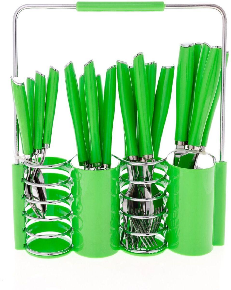 Набор столовых приборов Elff Decor, на подставке, цвет: зеленый, 25 предметов. 1400-029115610Столовый набор из 25 предметов Высококачественная нержавеющая сталь 18/10 Ручки из цветного пластика и нержавеющей стали Состоит из:-столовые ложки-6 шт.-вилки-6 шт.-ножи-6 шт.-чайные ложки-6 шт.-подставка из нержавеющей стали и и цветного пластика