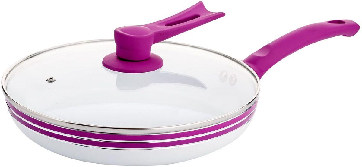 Сковорода Elff Decor с крышкой, с керамическим покрытием, цвет: фиолетовый. Диаметр 22 см94672Сковорода Изготовлена из алюминия Антипригарное керамическое покрытие белого цвета:Прозрачная стеклянная крышка Ручки из цветного силикона Подходит для всех источников нагрева Легко чистится Можно мыть в посудомоечной машине d. 22 см