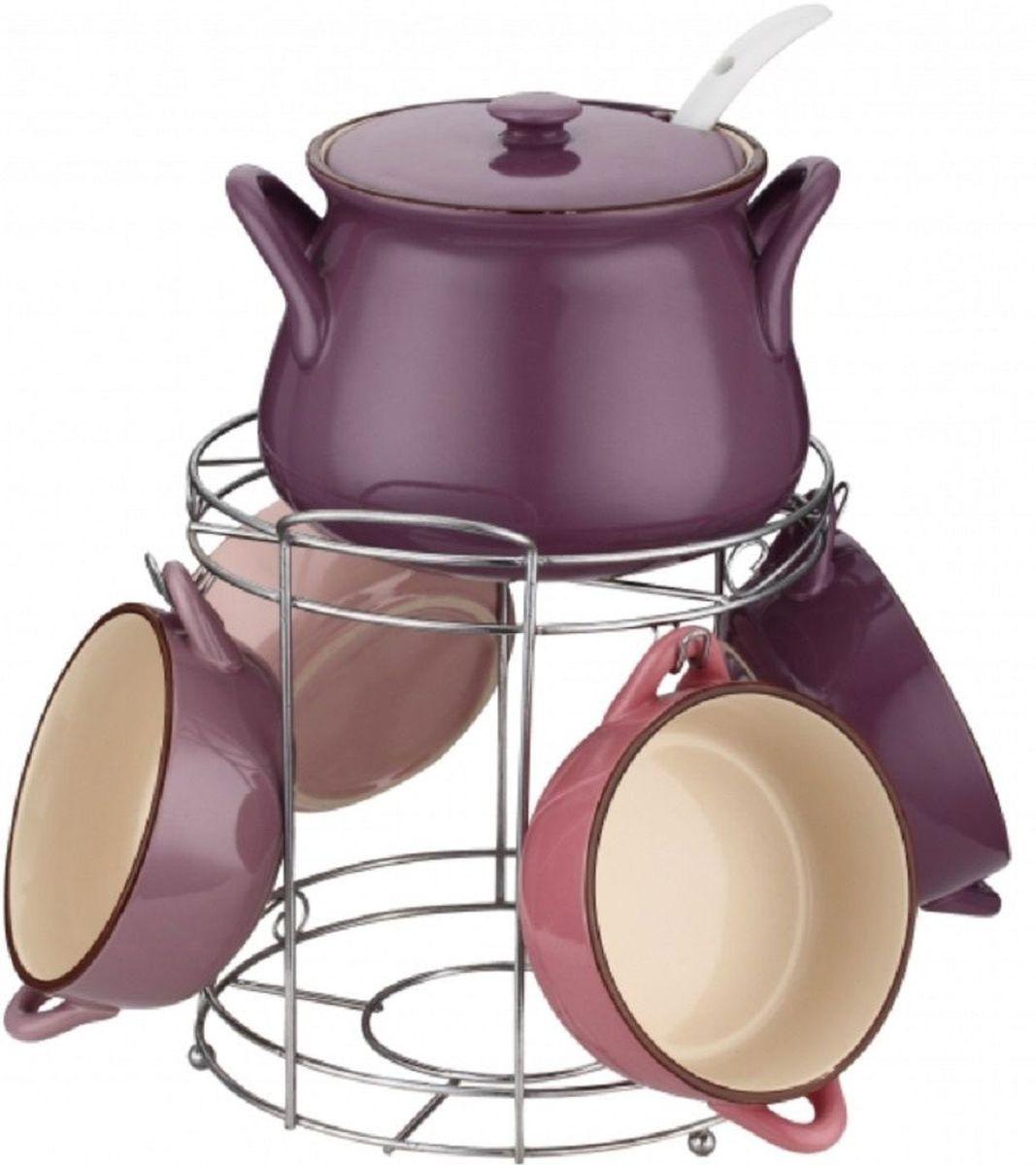 Набор супниц Elff Decor, на подставке, 8 предметов115510Набор супниц из 8 предметов Изготовлен из цветной керамики Состоит из:-супница с крышкой 1шт-объем 1500 мл-супницы 4 шт,обьем 400мл-суповая ложка-подставка из нержавеющей стали