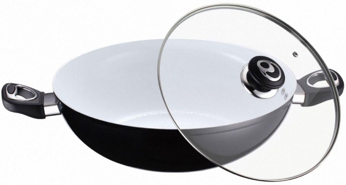 Казан Elff Decor, с крышкой, с керамическим покрытием. Диаметр 32 смCM000001328Казан Изготовлен из алюминия с белым керамическим покрытием на внутренней поверхности Стеклянная крышка с возможностью выпуска пара Клепанные ручки из пластика и нержавеющей стали Легко чистится Подходит для всех видов плит, включая индукцию d.32 см
