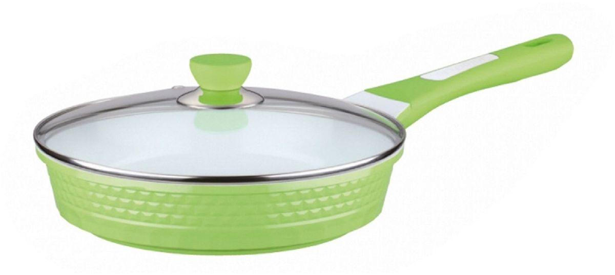 Сковорода Elff Decor с крышкой, с керамическим покрытием, цвет: зеленый. Диаметр 26 см94672Сковорода 4D Изготовлена из литого алюминия Антипригарное керамическое покрытие белого цвета Прозрачная стеклянная крышка Подходит для всех источников нагрева Легко чистится Можно мыть в посудомоечной машине d. 26 см