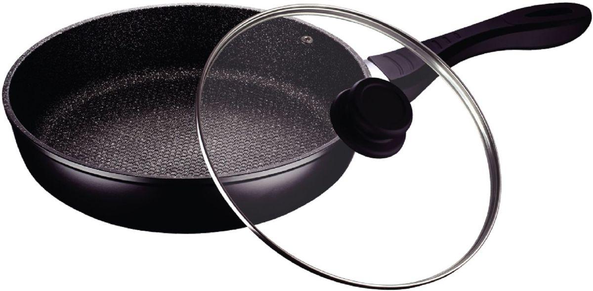 Сковорода Elff Decor с крышкой, с гранитным покрытием. Диаметр 26 cм300196Сковорода Изготовлена из литого алюминия Антипригарное гранитное покрытие Прозрачная стеклянная крышка Подходит для всех источников нагрева Легко чистится Можно мыть в посудомоечной машине d. 26 см