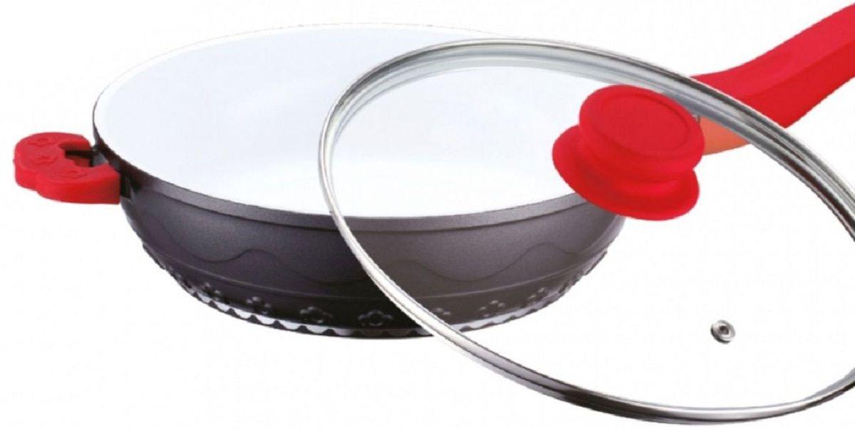 Сковорода Elff Decor с крышкой, с керамическим покрытием, цвет: красный. Диаметр 24 смFS-91909Сковорода Алюминиевая сковорода с белым керамическим покрытием Силиконовые ручки Стеклянная крышка d.24 см