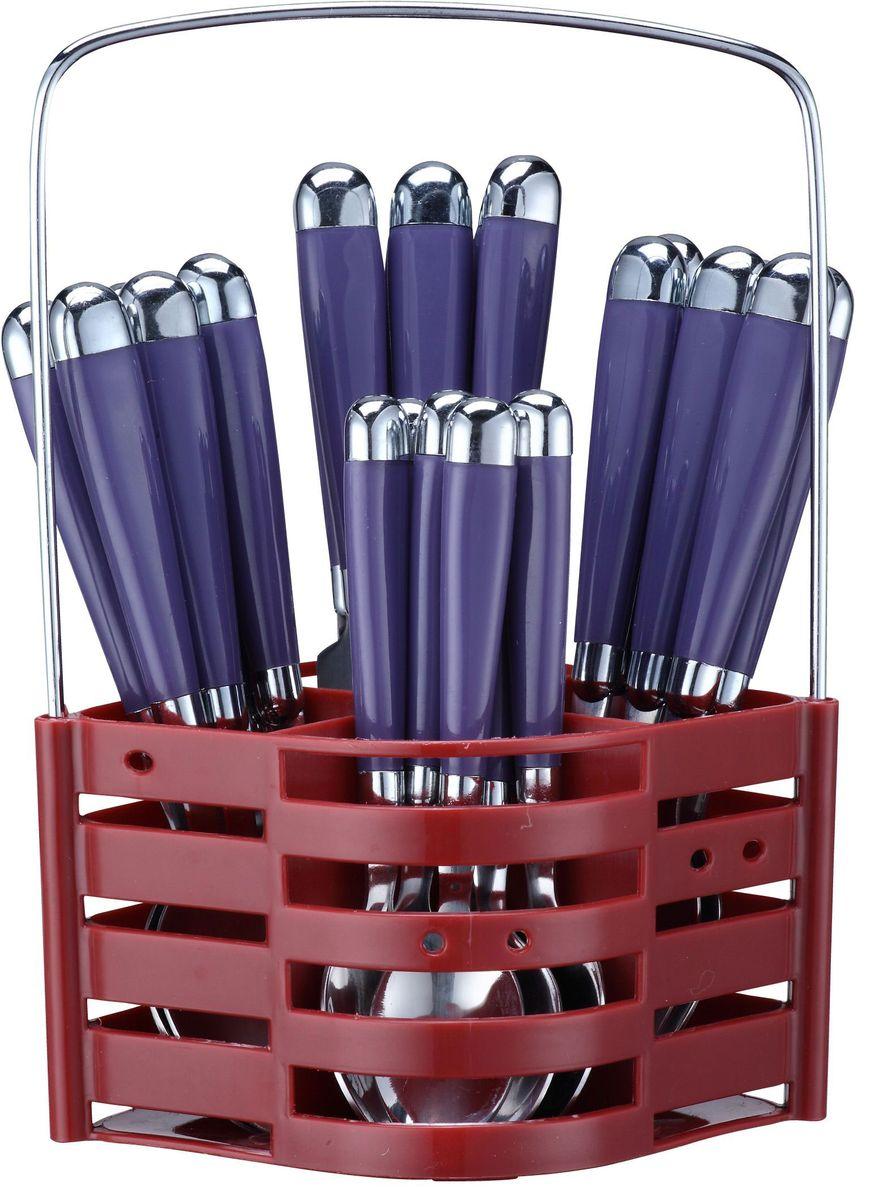 Набор столовых приборов Elff Decor, на подставке, цвет: фиолетовый, 25 предметов. 1407-424115510Столовый набор Состоит из 25 предметов. Высококачественная нержавеющая сталь. Ручки из цветного пластика и нержавеющей стали. Состоит из: -столовая ложка - 6 шт. -вилка - 6 шт. -нож - 6 шт. -чайная ложка - 6 шт. -подставка из нержавеющей стали и цветного пластика.