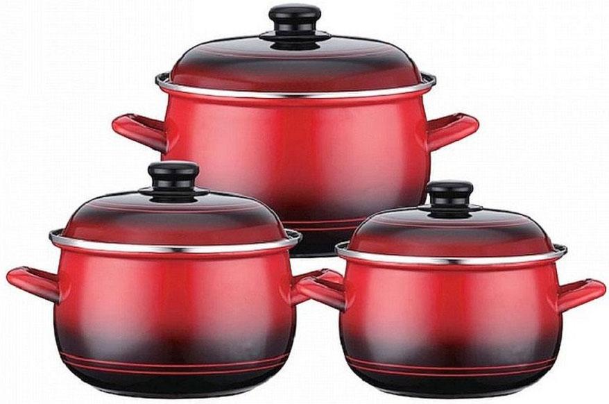 Набор эмалированных кастрюль Elff Decorс крышками, 6 предметов. 1407-49394672Набор эмалированной кухонной посуды из 6 предметов Эмалированное покрытие Подходит для всех источников тепла, включая индукционные плиты Легко чистится Набор состоит из: - Кастрюля с крышкой - d.20 см, емкость - 3,0 л - Кастрюля с крышкой - d.22 см, емкость - 4,0 л - Кастрюля с крышкой - d.24 см, емкость - 5,1 л