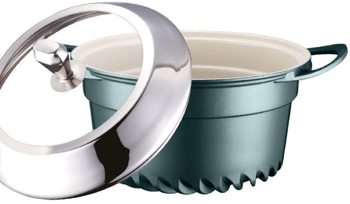 Кастрюля Elff Decor с крышкой, цвет: зеленый, 4,5 л94672Кастрюля изготовлена из алюминия Внутреннее покрытие - стойкая керамика Не нагревающие ручки Стеклянная крышка с элементами из нержавеющей стали Подходит для всех видов плит, кроме индукции Пригодна для мытья в посудомоечной машине. d.24х13,5 см Ёмкость 4,5 л.