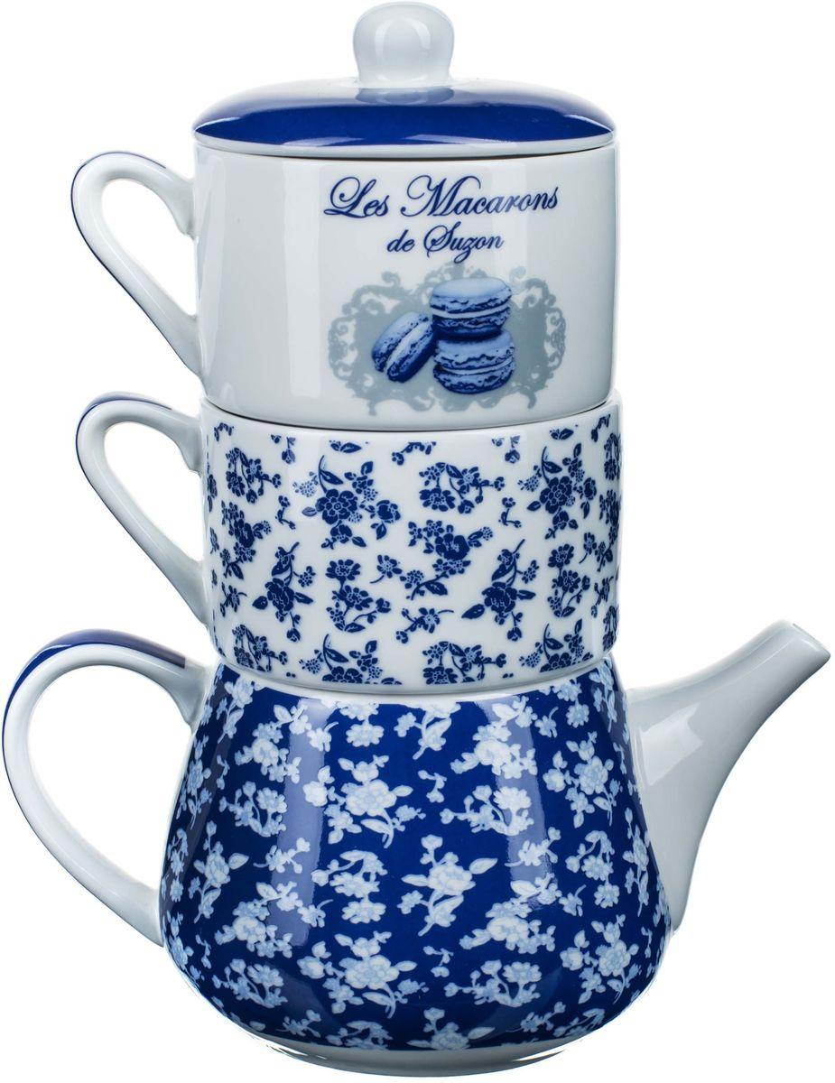 Набор чайный ORVAL Миндальное печенье Сюзанны, 3 предмета115510Элегантный фарфоровый набор из чайника и двух чашек , станет прекрасным поводом для чайной церемонии и приятной беседы.