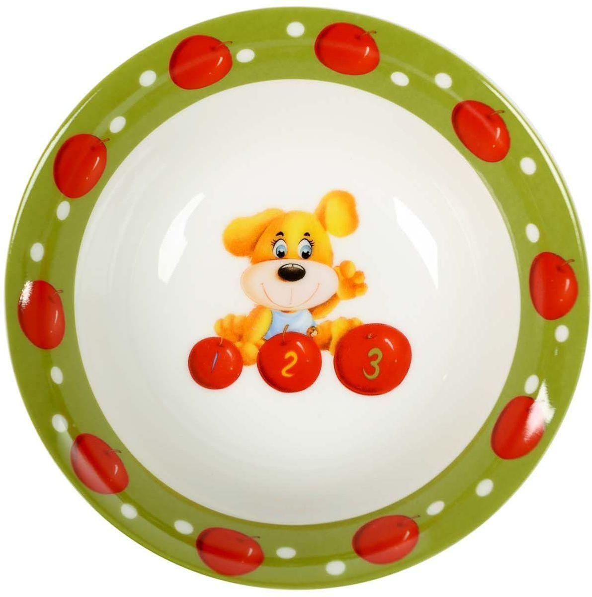 Набор детской посуды Elff Decor, 3 пердмета115610Набор детск.посуды из коллекции Весёлая кухня сделан из абсолютно безопасных материалов- фарфора и керамики и призывает ребёнка с удовольствием подходить к приёму пищи, тем самым радуя своих родителей.