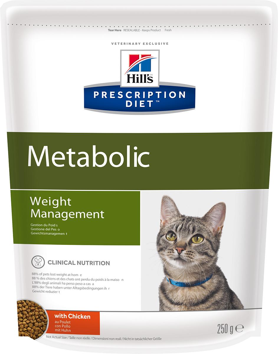 Корм сухой диетический Hills Metabolic для кошек, для коррекции веса, 250 г0120710Сухой диетический корм для кошек Hills - полноценный диетический рацион для кошек, предназначенный для снижения избыточной массы тела и поддержания оптимального веса. Данный рацион обладает пониженной энергетической ценностью. Рацион для снижения и поддержания веса позволяет избежать повторного набора веса после прохождения программы по снижению веса.- Клинически доказанное снижение жировой массы на 28%.- Отличный вкус понравится вашей кошке.Состав: мясо и пептиды животного происхождения, зерновые злаки, экстракты растительного белка, производные растительного белка, производные растительного происхождения, овощи, масла и жиры, семена, минералы.Анализ: белок 37,8%, жир 11,9%, клетчатка 9,1%, зола 6%, кальций 0,96%, фосфор 0,7%, натрий 0,31%, калий 0,7%, магний 0,09%; на кг: витамин Е 600 мг, витамин С 90 мг, бета-каротин 1,5 мг.Добавки на кг: Е672 (витамин А) 35930 МЕ, Е671 (витамин D3) 2110 МЕ, Е1 (железо) 202 мг, Е2 (йод) 2 мг, Е4 (медь) 25,6 мг, Е5 (марганец) 158 мг, Е6 (цинк) 172 мг, Е8 (селен) 0,4 мг, с натуральным консервантом и натуральными антиоксидантами.Метаболическая энергия (рассчитываемая): 14,1 МДж на кг.Товар сертифицирован.Уважаемые клиенты! Обращаем ваше внимание на возможные изменения в дизайне упаковки. Качественные характеристики товара остаются неизменными. Поставка осуществляется в зависимости от наличия на складе.