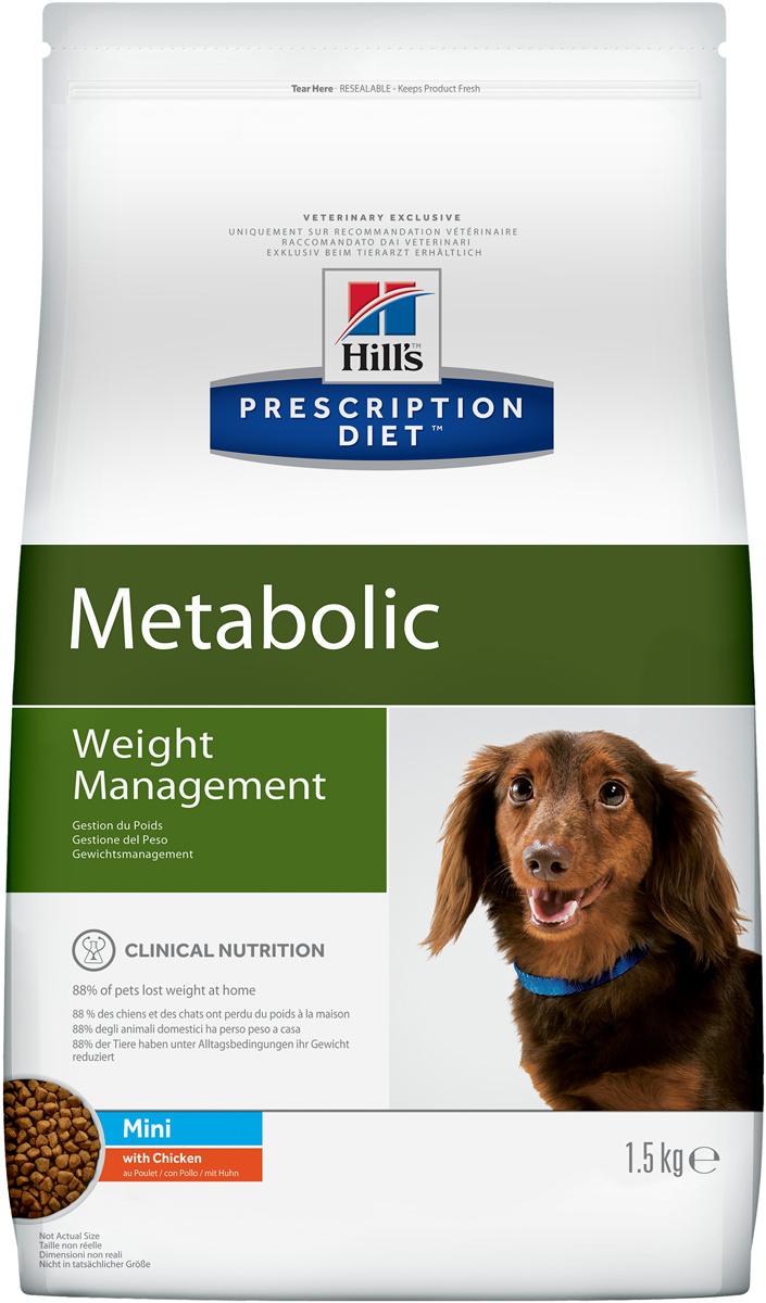Корм сухой диетический Hills Metabolic для собак мелких пород, для коррекции веса, с курицей, 1,5 кг. 33530120710Сухой диетический корм Hills Metabolic - полноценный диетический рацион для собак мелких пород, предназначенный для снижения избыточной массы тела и поддержания оптимального веса. Данный рацион обладает пониженной энергетической ценностью. Рацион для снижения и поддержания веса позволяет избежать повторного набора веса после прохождения программы по снижению веса.- Клинически доказанное снижение жировой массы на 28%.- Отличный вкус понравится вашему питомцу.Состав: злаки, производные растительного происхождения, мясо и производные животного происхождения, экстракты растительного белка, овощи, масла и жиры, семена, фрукты, минералы.Анализ: белок 26%, жир 11,3%, клетчатка 13,3%, зола 5,7%, кальций 0,84%, фосфор 0,62%, натрий 0,33%, калий 0,74%, магний 0,12%; на кг: витамин Е 657 мг, витамин С 122 мг, бета-каротин 2 мг.Добавки на кг: Е672 (витамин А) 27360 МЕ, Е671 (витамин D3) 1610 МЕ, Е1 (железо) 229 мг, Е2 (йод) 3,4 мг, Е4 (медь) 29 мг, Е5 (марганец) 114 мг, Е6 (цинк) 194 мг, Е8 (селен) 0,5 мг, с натуральным консервантом и натуральными антиоксидантами.Метаболическая энергия (рассчитываемая): 13 МДж на кг.Товар сертифицирован.Уважаемые клиенты! Обращаем ваше внимание на возможные изменения в дизайне упаковки. Качественные характеристики товара остаются неизменными. Поставка осуществляется в зависимости от наличия на складе.