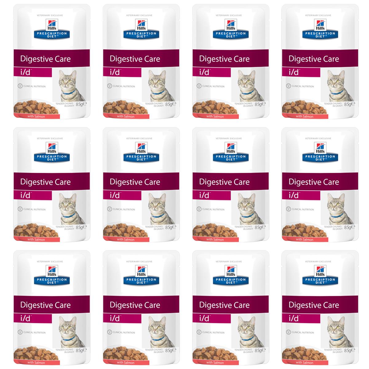 Консервы Hills Prescription Diet. I/D для кошек с заболеваниями ЖКТ, с лососем, 85 г, 12 шт0120710Консервы Hills Prescription Diet. I/D рекомендуются:- При заболеваниях желудочно-кишечного тракта: гастрите, энтерите, колите (наиболее распространенные причины диареи). - Для восстановления после хирургической операции на желудочно-кишечном тракте. - При недостаточности экзокринной функции поджелудочной железы. - При панкреатите без гиперлипидемии. - Для восстановления после легких хирургических процедур и состояний, незначительно ослабляющих организм. - Для котят в качестве повседневного питания. Обеспечивает полноценное сбалансированное питание котятам (в течение короткого периода) и взрослым кошкам. Не рекомендуется кошкам с задержкой натрия в организме.Ключевые преимущества: - Высокая перевариваемость продукта улучшает всасывание нутриентов и способствует восстановлению желудочно-кишечного тракта. - Содержание жиров снижено, что помогает уменьшить стеаторею (маслянистый стул). - Повышенное содержание растворимой клетчатки обеспечивает поступление короткоцепочных жирных кислот, которые питают энтероциты и восстанавливают кишечную микрофлору. - Повышено содержание электролитов, витаминов группы B, что восполняет потерю этих нутриентов при рвоте и диарее. - Добавлена антиоксидантная формула, которая нейтрализует действие свободных радикалов, участвующих в развитии гастроэнтерита. Ингредиенты: печень курицы, свинина, курица, лосось (4%), крахмал из тапиоки, пшеничная мука, концентрированный растительный протеин, кукурузный крахмал, глюкоза, минералы, сухое цельное яйцо, белковая пудра, целлюлоза, подсолнечное масло, витамины и микроэлементы. Окрашено карамелью. Среднее содержание нутриентов в рационе: протеин 8,3%, жиры 4,4%, углеводы (БЭВ) 6,4%, клетчатка (общая) 0,6%, влага 78,6%, кальций 0,23%, фосфор 0,18%, натрий 0,09%, калий 0,24%, магний 0,02%, Омега-3 жирные кислоты 0,12%, Омега-6 жирные кислоты 0,77%, таурин 613 мг/кг, Витамин A 16 900 МЕ/кг, Витамин D 260 МЕ/