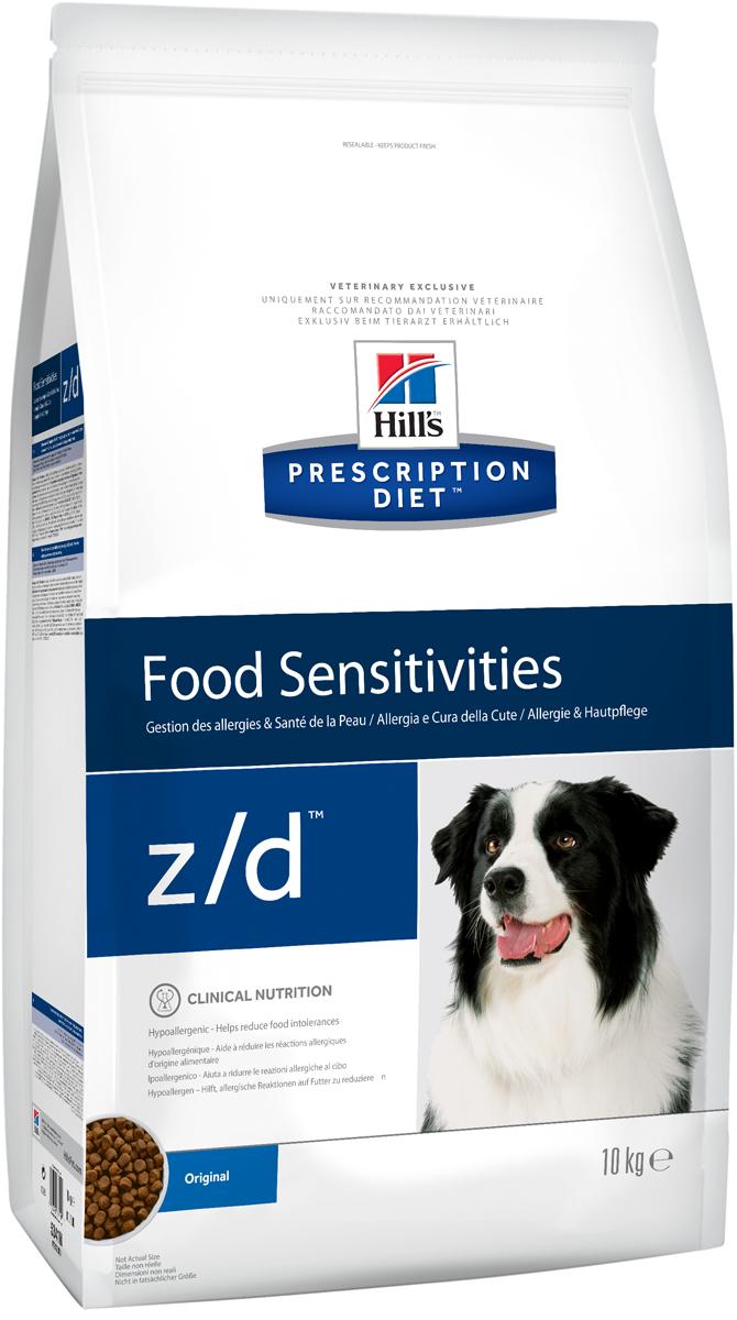 Корм сухой диетический Hills Z/D для собак, для лечения острых пищевых аллергий, 10 кг0120710Сбалансированный лечебный корм для собак Hills Z/D содержит особую формулу с пониженным содержанием аллергенов, благодаря чему является щадящей диетой для собак с чувствительным пищеварением. Пищевая аллергия и непереносимость могут стать причиной таких серьезных проблем, как чувствительная или раздраженная кожа, проблемы с шерстью и ушами, расстройство пищеварения. Собаки с пищевой аллергией или непереносимостью, как правило, показывают негативную реакцию на протеины, содержащиеся в пище. Ключевые преимущества корма: - содержит легкоусвояемые протеины, снижающие риск аллергических реакций, - содержит один источник углеводов, благодаря чему обладает меньшим количеством аллергенов в своем составе. - легкоусвояемые углеводы и жиры снижают нагрузку на желудочно-кишечный тракт, - обогащен Омега-3 и Омега-6 жирными кислотами для здоровой кожи и блестящей шерсти.Рекомендации по кормлению: Монодиета не требует дополнений. Проконсультируйтесь с вашим ветеринаром перед приемом. Суточная норма кормления указана на упаковке и должна быть рассчитана в соответствии с размером животного, чтобы поддерживать оптимальный вес. Суточную норму можно разделить на два и более кормлений в день. Рекомендуемая продолжительность диетотерапии 3-8 недель; при исчезновении клинических симптомов непереносимости диету можно применять без временных ограничений. Обеспечьте питомцу постоянный доступ к свежей воде. Состав: злаки, мясо и производные животного происхождения, производные растительного происхождения, масла и жиры, минералы, гидролизат куриной печени (источник белка), кукурузный крахмал. Анализ: белок 18,0%, жир 14,3%, незаменимые жирные кислоты 4,2%, сырая клетчатка 4,5%, сырая зола 4,9%, кальций 0,61%, фосфор 0,49%, натрий 0,27%, калий 0,70%; на кг: витамин E 690 мг, витамин С 115 мг, Бета-каротин 1,5 мг, таурин 1 120 мг. Добавки на кг: E671 (витамин D3) 1 180 ME, E1 (железо) 367 мг, E2 (йод) 9,