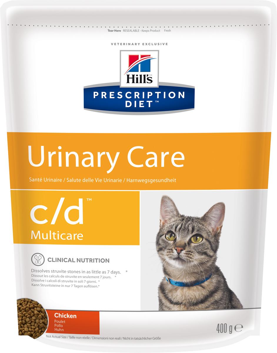 Корм сухой диетический Hills C/D для кошек, профилактика МКБ и струвитов, с курицей, 400 г0120710Сухой корм для кошек Hills C/D - полноценный диетический рацион для кошек. Рекомендован при урологическом синдроме кошек склонных к набору веса (для снижения вероятности рецидивов струвитного уролитиаза). Рацион обладает закисляющими мочу свойствами и содержит умеренный уровень магния.Растворяет струвитные уролиты уже через 14 дней и предотвращает рецидивы заболевания.- Превосходный вкус понравится вашей кошке.- Супер Антиоксидантная формула повышает устойчивость клеток организма к воздействию свободных радикалов.Рекомендации по кормлению: суточная норма кормления указана на упаковке и должна быть расчитана в соответствии с размером животного, чтобы поддерживать оптимальный вес. Суточную норму можно разделить на 2 и более кормлений в день. Рекомендуемая продолжительность диетотерапии: до 6 месяцев. Обеспечьте питомца постоянным свободным доступом к свежей воде. Состав: зерновые злаки, мясо и пептиды животного происхождения, экстракты растительного белка, масла и жиры, минералы. Подкисляющее мочу вещество: DL-метионин.Анализ: белок 32,4%, жир 15,6%, клетчатка 0,9%, зола 5,2%, кальций 0,72%, фосфор 0,66%, натрий 0,35%, калий 0,76%, хлориды 0,88, сера 0,64%, магний 0,06%. На кг: витамин Е 550мг, бета-каротин 1,5 мг, таурин 2 360 мг.Добавки на кг: витамин А 24170 МЕ, витамин D3 1 430 МЕ, железо 264 мг, йод 2,6 мг, медь 33,5 мг, марганец 11,6 мг, цинк 224 мг, селен 0,5 мг. С антиоксидантами и натуральным консервантом. Товар сертифицирован.Уважаемые клиенты! Обращаем ваше внимание на возможные изменения в дизайне упаковки. Качественные характеристики товара остаются неизменными. Поставка осуществляется в зависимости от наличия на складе.