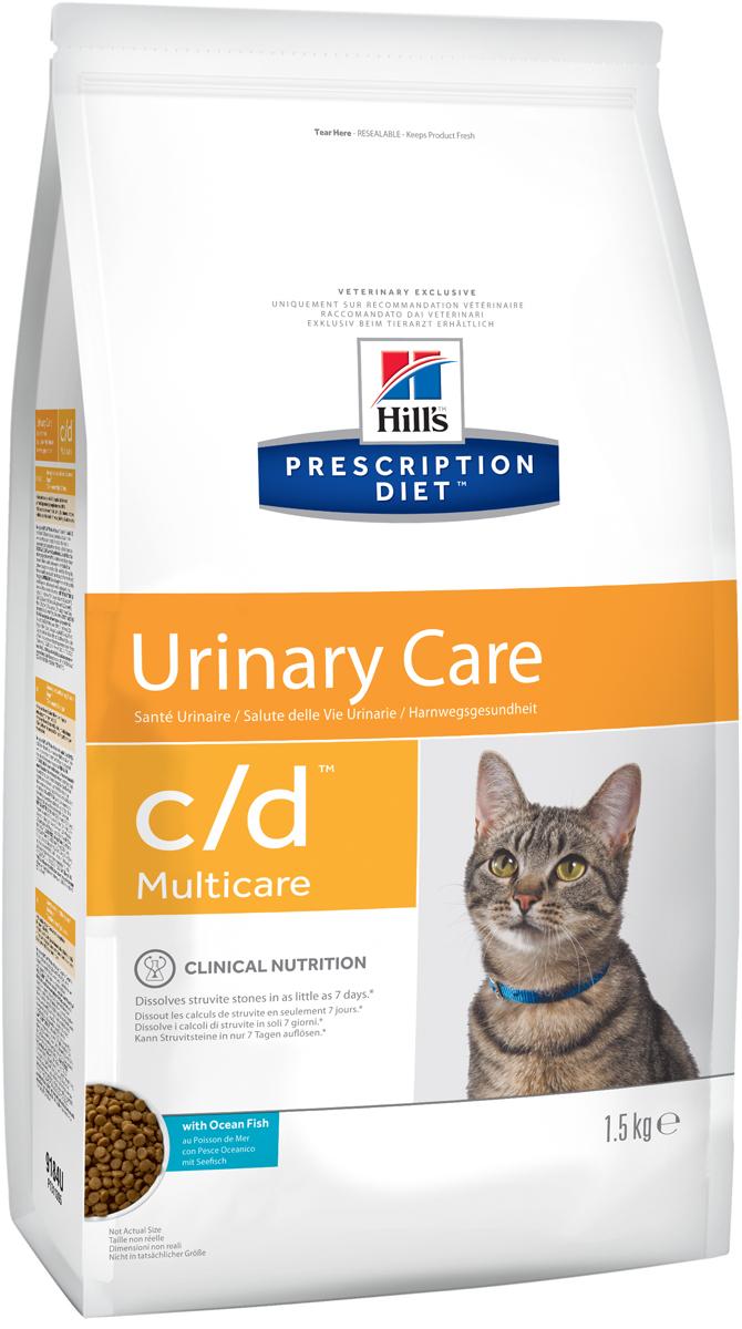 Корм сухой диетический Hills C/D для кошек, профилактика МКБ и растворение струвитов, с океанической рыбой, 1,5 кг0120710Сухой корм для кошек Hills C/D - полноценный диетический рацион для кошек. Рекомендован при урологическом синдроме кошек склонных к набору веса (для снижения вероятности рецидивов струвитного уролитиаза). Рацион обладает закисляющими мочу свойствами и содержит умеренный уровень магния.Растворяет струвитные уролиты уже через 7 дней и предотвращает рецидивы заболевания.Состав: злаки, мясо и производные животного происхождения, экстракты растительного белка, масла и жиры, минералы, рыба и рыбные производные, семена, минералы. Анализ: белок 32,3%, жир 15%, омега-3 0,74%, клетчатка 0,7%, зола 5,2%, кальций 0,73%, фосфор 0,67%, натрий 0,33%, калий 0,06%, хлориды 0,84, сера 0,68%, магний 0,06%. На кг: витамин Е 550мг, бета-каротин 1,5 мг, витамин B6 26 мг, цитрат калия 2 мг.Добавки на кг: витамин А 24610 МЕ, витамин D3 1450 МЕ, железо 264 мг, йод 3,9 мг, медь 33,5 мг, марганец 12 мг, цинк 224 мг, селен 0,5 мг. Товар сертифицирован.Уважаемые клиенты! Обращаем ваше внимание на возможные изменения в дизайне упаковки. Качественные характеристики товара остаются неизменными. Поставка осуществляется в зависимости от наличия на складе.