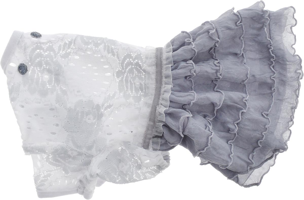 Платье для собак Pret-a-Pet Кружево, для девочки, цвет: белый, серый. Размер XS0120710Платье для собак Pret-a-Pet Кружево, изготовленное из полиэстера и ажурного текстиля, отлично подойдет для прогулок в сухую погоду.Изделие оснащено внутренней резинкой, благодаря чему его легко надевать и снимать. Спинка декорирована оригинально брошкой.Благодаря такому платью вашему питомцу будет комфортно наслаждаться прогулкой или играми дома.Длина по спинке: 19-21 см.Объем груди: 26-28 см.Обхват шеи: 24 см.