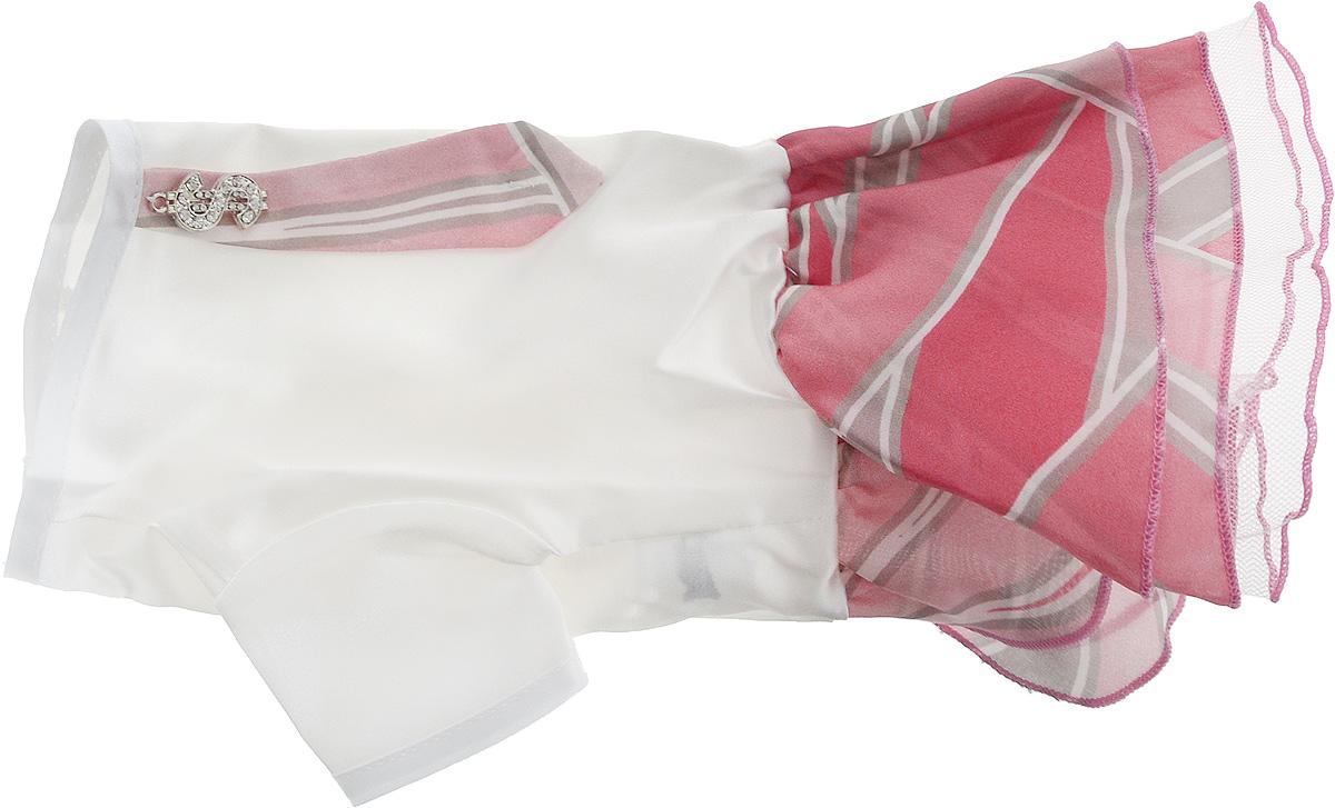 Платье для собак Pret-a-Pet Галстук, для девочки, цвет: белый, розовый. Размер XS0120710Платье для собак Pret-a-Pet Галстук, изготовленное из искусственного шелка, отлично подойдет для прогулок в сухую погоду.Низ изделия снабжен подкладкой из фатина. Спинка украшена галстуком и оригинальной подвеской со стразами. Застегивается платье на животе на металлические кнопки.Благодаря такому платью вашему питомцу будет комфортно наслаждаться прогулкой или играми дома.Длина по спинке: 19-21 см.Объем груди: 26-28 см.Обхват шеи: 24 см.