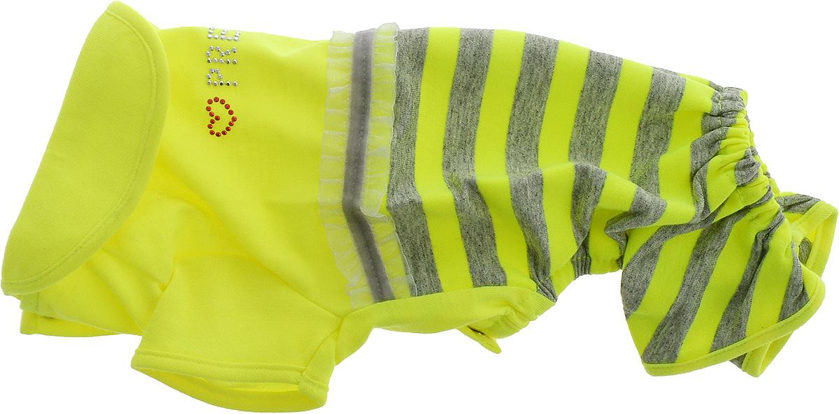 Комбинезон для собак Pret-a-Pet Фэшн Ультра, для девочки, цвет: желтый, серый. Размер XS0120710Комбинезон для собак Pret-a-Pet Фэшн Ультра, изготовленный из вискозы, отлично подойдет для прогулок в сухую погоду или для дома.Изделие оснащено внутренней резинкой, благодаря чему его легко надевать и снимать. Низ рукавов и брючин имеетспециальные прорези для лапок. Спинка украшена текстильной ленточкой и стразами. Застегивается комбинезон на металлические кнопки, расположенные на животе.Благодаря такому комбинезону вашему питомцу будет комфортно наслаждаться прогулкой или играми дома.Длина по спинке: 19-21 см.Объем груди: 26-28 см.Обхват шеи: 24 см.