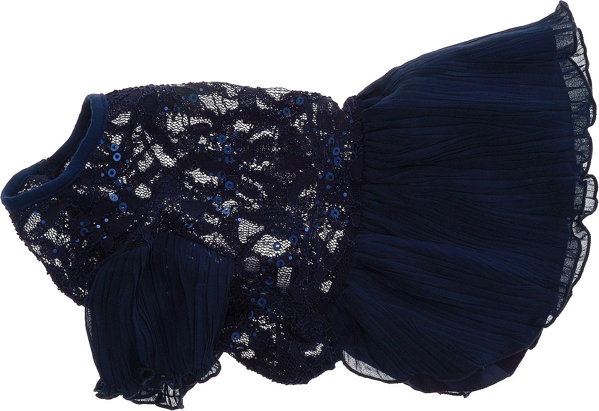 Платье для собак Pret-a-Pet , для девочки, цвет: темно-синий. Размер L0120710Плиссированное платье для собак Pret-a-Pet , изготовленное из полиэстера, ажурного текстиля (кружева) и вискозы, отлично подойдет для прогулок в сухую погоду.Низ изделия снабжен подкладкой. Платье украшено пайетками и оснащено внутренней резинкой, благодаря чему его легко надевать и снимать.В таком платье вашему питомцу будет комфортно наслаждаться прогулкой или играми дома.Длина по спинке: 28-30 см.Объем груди: 43-45 см.Обхват шеи: 30 см.