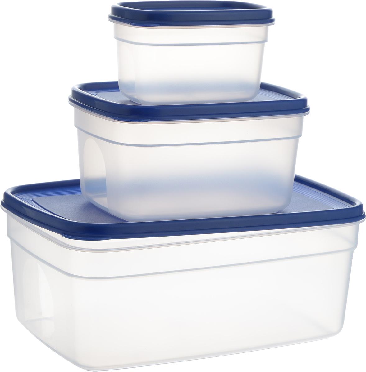 Набор контейнеров Emsa Superline, 3 штVT-1520(SR)Набор контейнеров Emsa Superline состоит из 3 прямоугольных контейнеров разного размера. Контейнеры выполнены из прочного пищевого пластика без содержания BPA. Изделия имеют плотно закрывающиеся мягкие крышки, которые позволяют продуктам дольше оставаться свежими и защищают от попадания грязи и влаги. Набор отлично подойдет для использования дома и на даче, контейнеры небольших размеров удобно брать с собой на работу или учебу. Изделия можно использовать в СВЧ при температуре до +110°С, ставить в холодильник при температуре -40°С, а также мыть в посудомоечной машине. Крышки выдерживают температуру от -40°С до +80°С. Объем контейнеров: 500 мл, 1,7 л, 4,5 л. Размер контейнеров: 14 х 9 х 8 см, 19 х 15 х 10 см, 29 х 19 х 12 см.